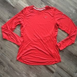Nike Running Long Sleeve Red Dri-Fit Top Large